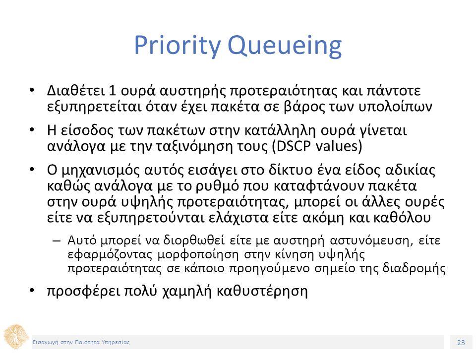 23 Εισαγωγή στην Ποιότητα Υπηρεσίας Priority Queueing Διαθέτει 1 ουρά αυστηρής προτεραιότητας και πάντοτε εξυπηρετείται όταν έχει πακέτα σε βάρος των