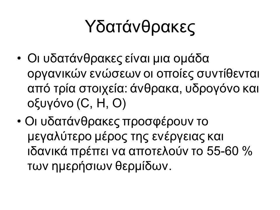 Υδατάνθρακες Οι υδατάνθρακες είναι μια ομάδα οργανικών ενώσεων οι οποίες συντίθενται από τρία στοιχεία: άνθρακα, υδρογόνο και οξυγόνο (C, H, O) Οι υδα