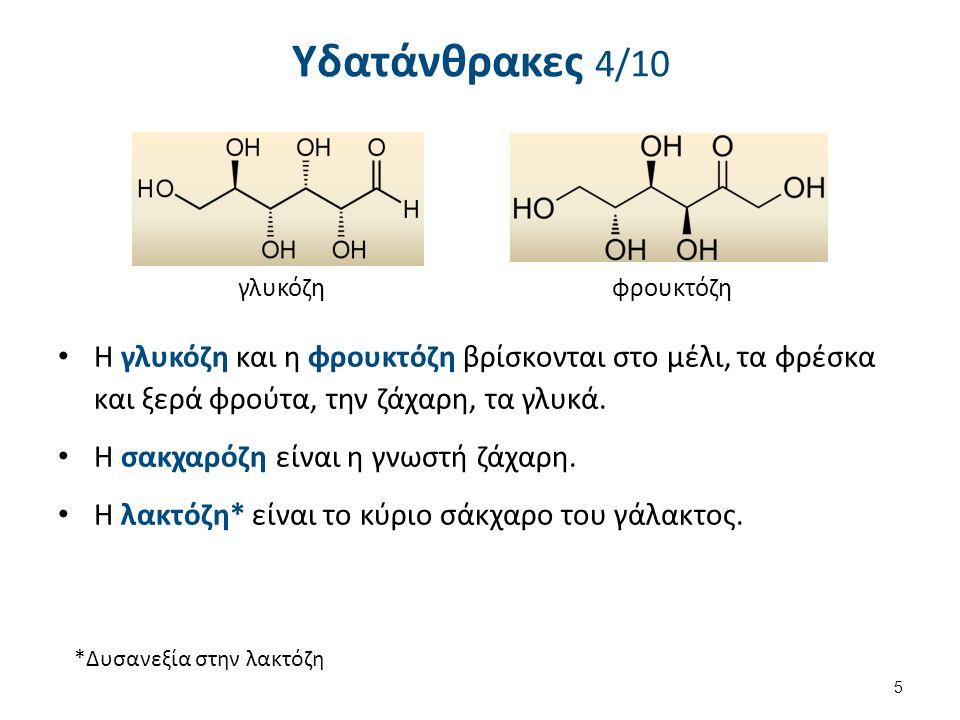 Υδατάνθρακες 4/10 Η γλυκόζη και η φρουκτόζη βρίσκονται στο μέλι, τα φρέσκα και ξερά φρούτα, την ζάχαρη, τα γλυκά.