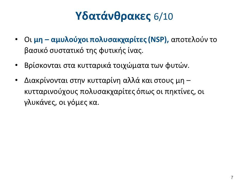 Υδατάνθρακες 6/10 Οι μη – αμυλούχοι πολυσακχαρίτες (NSP), αποτελούν το βασικό συστατικό της φυτικής ίνας. Βρίσκονται στα κυτταρικά τοιχώματα των φυτών