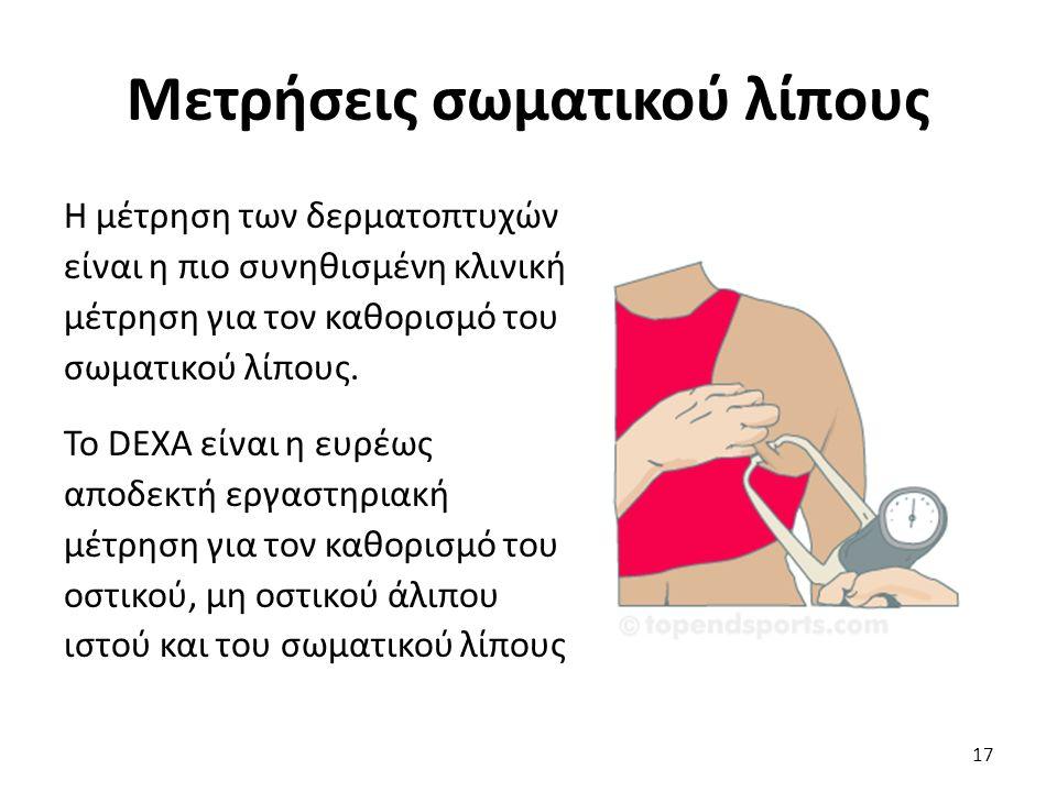 Μετρήσεις σωματικού λίπους Η μέτρηση των δερματοπτυχών είναι η πιο συνηθισμένη κλινική μέτρηση για τον καθορισμό του σωματικού λίπους.