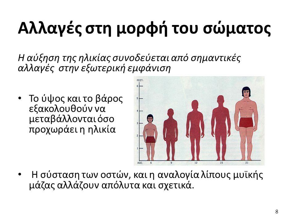 Αλλαγές στη μορφή του σώματος Η αύξηση της ηλικίας συνοδεύεται από σημαντικές αλλαγές στην εξωτερική εμφάνιση Το ύψος και το βάρος εξακολουθούν να μεταβάλλονται όσο προχωράει η ηλικία Η σύσταση των οστών, και η αναλογία λίπους μυϊκής μάζας αλλάζουν απόλυτα και σχετικά.