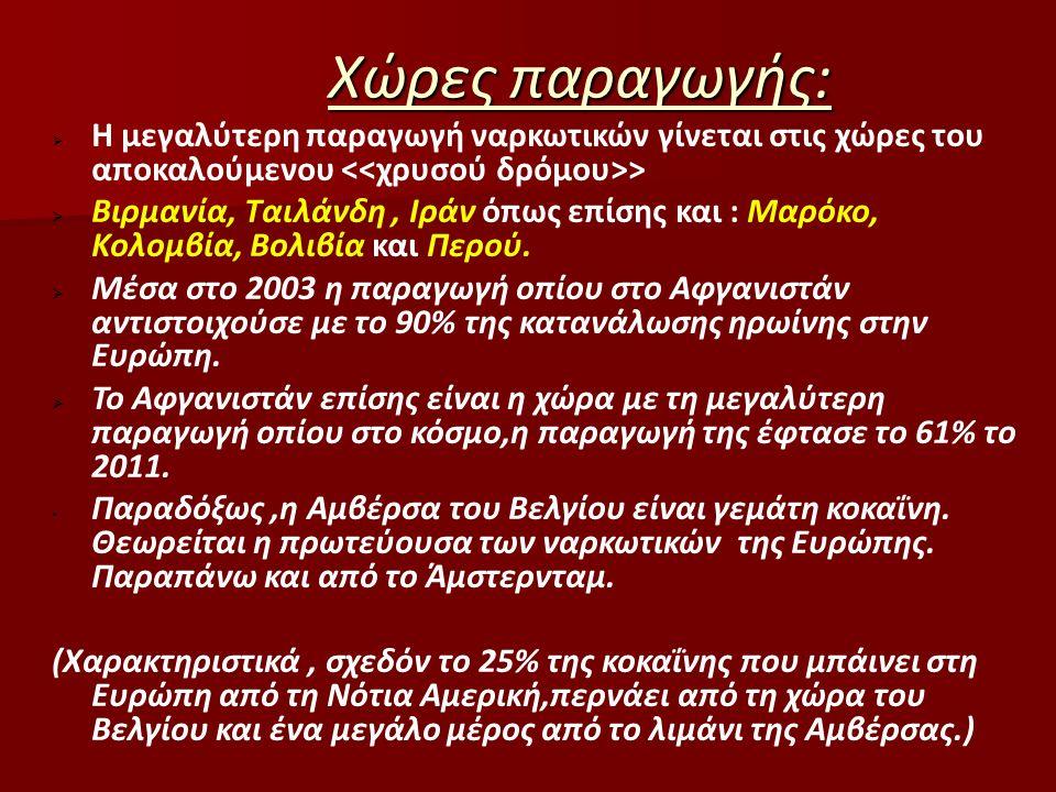  Άλλες χώρες προέλευσης παραγωγής επίσης είναι και η Αλβανία όπως και η Σερβία.Λόγω μικρής απόστασης είναι οι κύριοι προμηθευτές ναρκωτικών στη χώρα μας.