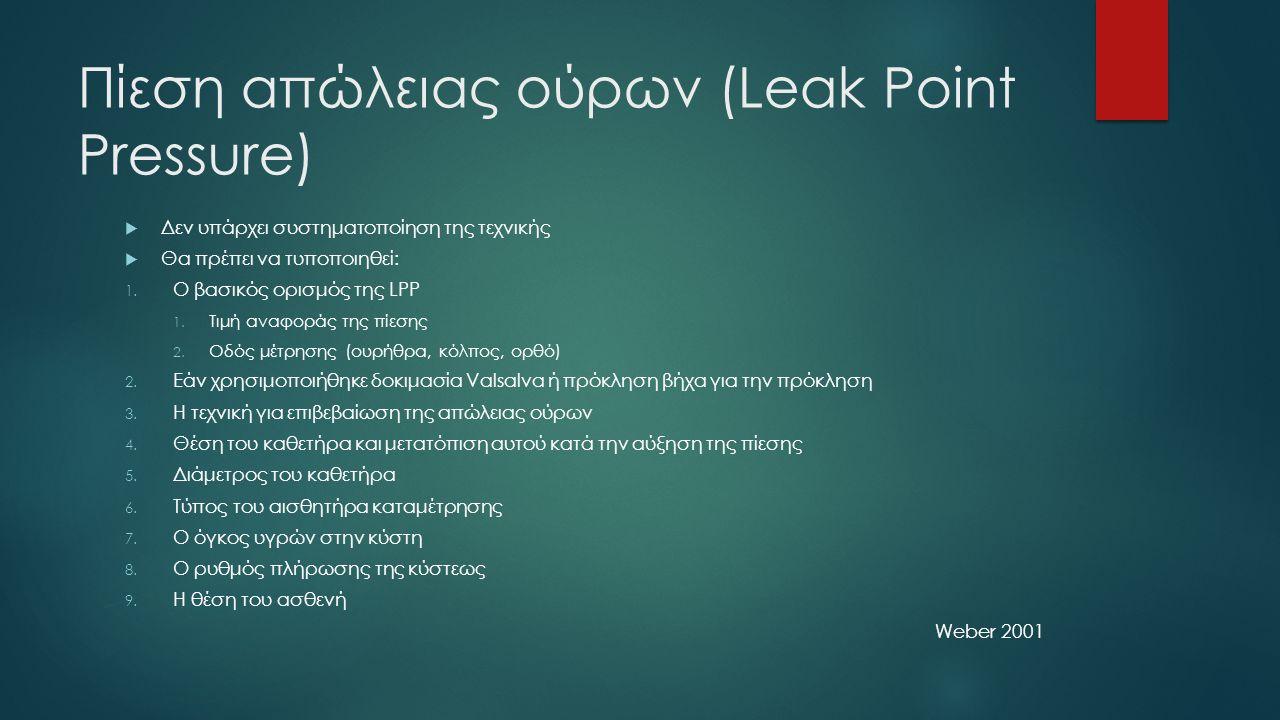 Πίεση απώλειας ούρων (Leak Point Pressure)  Δεν υπάρχει συστηματοποίηση της τεχνικής  Θα πρέπει να τυποποιηθεί: 1.