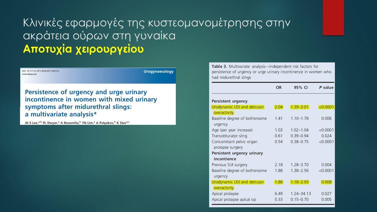 Κλινικές εφαρμογές της κυστεομανομέτρησης στην ακράτεια ούρων στη γυναίκα Αποτυχία χειρουργείου