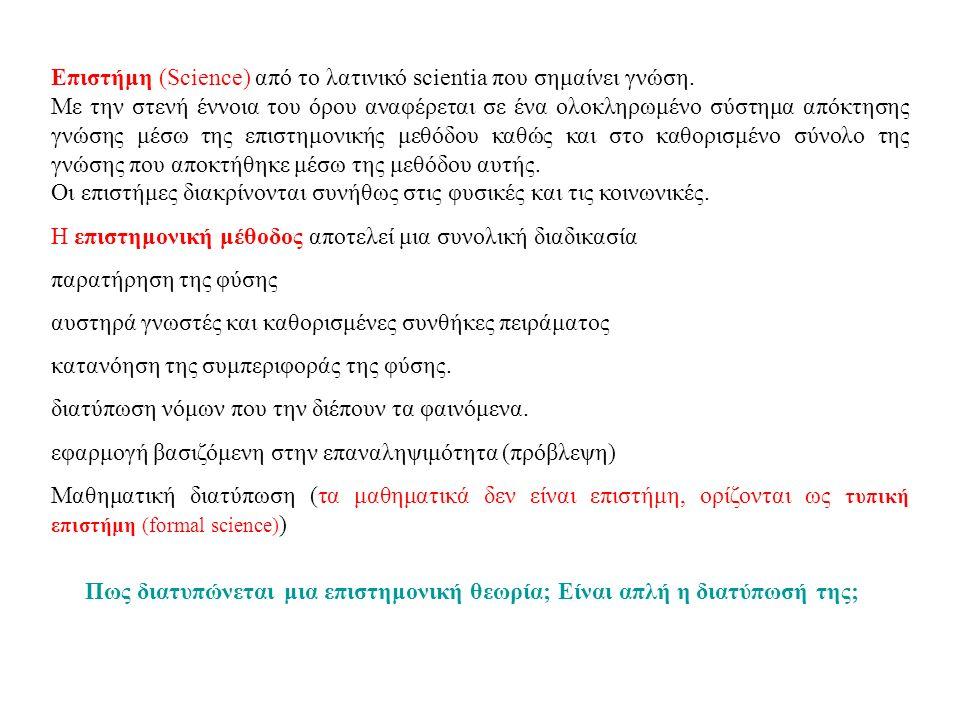 Επιστήμη (Science) από το λατινικό scientia που σημαίνει γνώση.