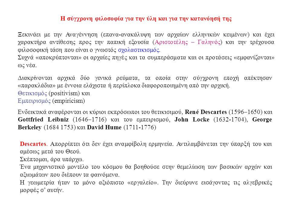Η σύγχρονη φιλοσοφία για την ύλη και για την κατανόησή της Ξεκινάει με την Αναγέννηση (επανα-ανακάλυψη των αρχαίων ελληνικών κειμένων) και έχει χαρακτήρα αντίθεσης προς την παπική εξουσία (Αριστοτέλης – Γαληνός) και την τρέχουσα φιλοσοφική τάση που είναι ο γνωστός σχολαστικισμός.