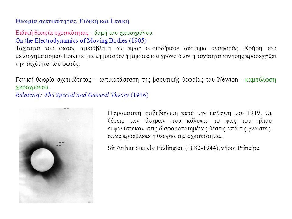 Θεωρία σχετικότητας. Ειδική και Γενική. Ειδική θεωρία σχετικότητας - δομή του χωροχρόνου.