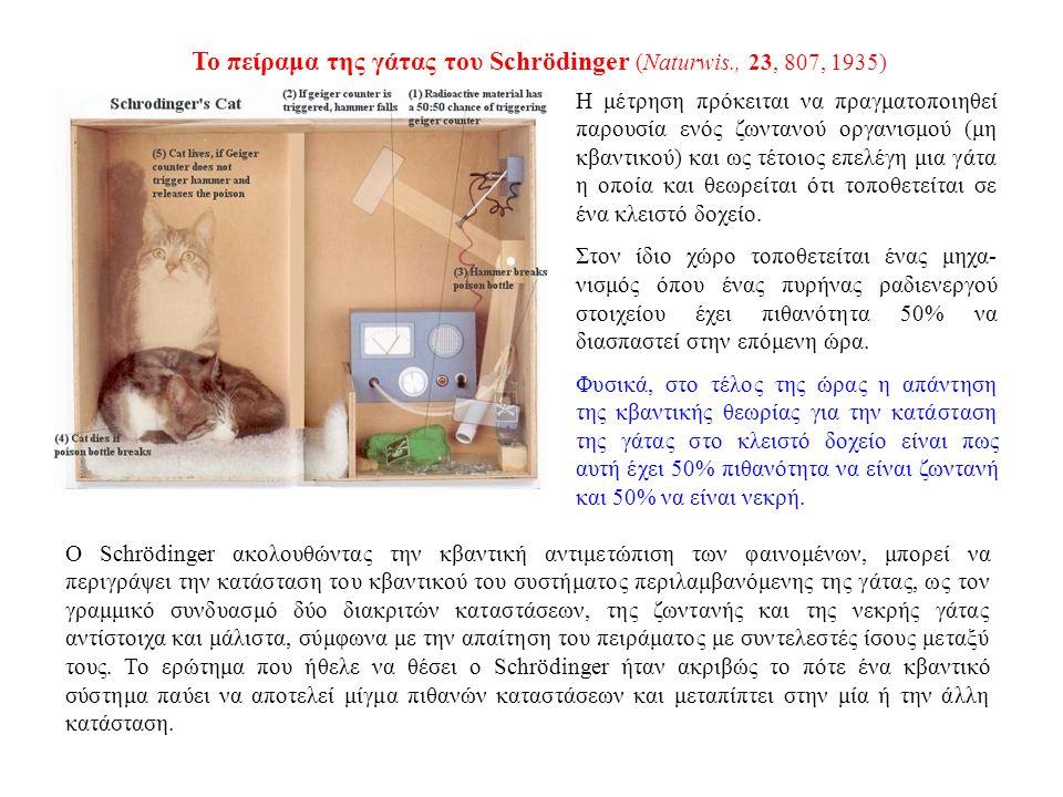 Το πείραμα της γάτας του Schrödinger (Naturwis., 23, 807, 1935) Η μέτρηση πρόκειται να πραγματοποιηθεί παρουσία ενός ζωντανού οργανισμού (μη κβαντικού) και ως τέτοιος επελέγη μια γάτα η οποία και θεωρείται ότι τοποθετείται σε ένα κλειστό δοχείο.