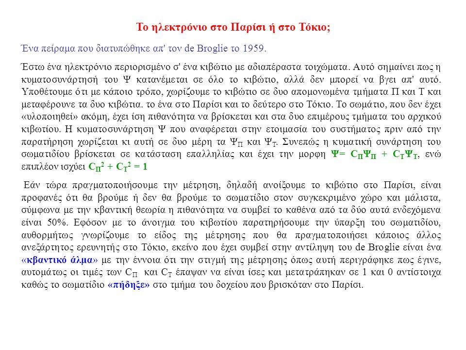 Το ηλεκτρόνιο στο Παρίσι ή στο Τόκιο; Ένα πείραμα που διατυπώθηκε απ τον de Brοglie το 1959.