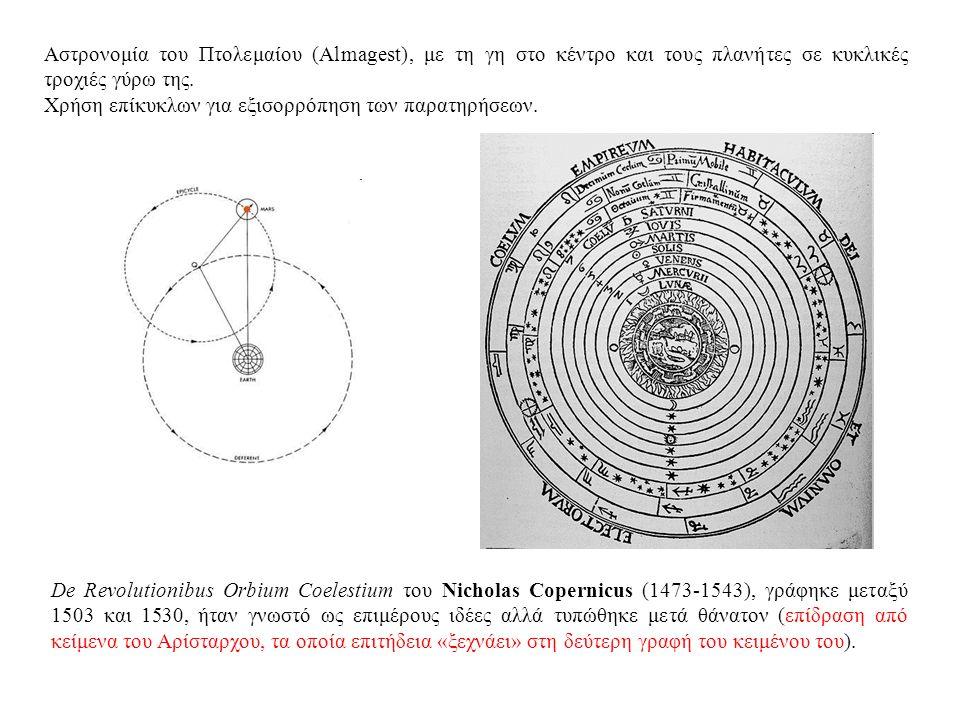 Αστρονομία του Πτολεμαίου (Almagest), με τη γη στο κέντρο και τους πλανήτες σε κυκλικές τροχιές γύρω της.