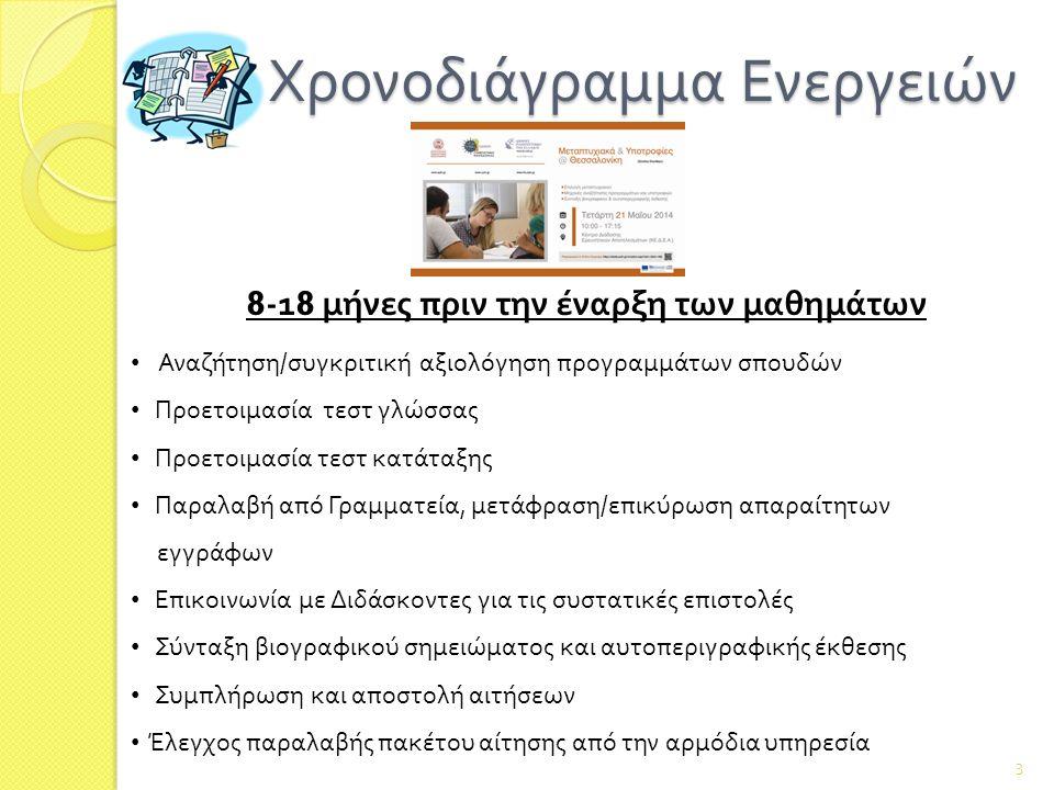 Χρονοδιάγραμμα Ενεργειών Χρονοδιάγραμμα Ενεργειών 3 8 -1 8 μήνες πριν την έναρξη των μαθημάτων Αναζήτηση/συγκριτική αξιολόγηση προγραμμάτων σπουδών Προετοιμασία τεστ γλώσσας Προετοιμασία τεστ κατάταξης Παραλαβή από Γραμματεία, μετάφραση/επικύρωση απαραίτητων εγγράφων Επικοινωνία με Διδάσκοντες για τις συστατικές επιστολές Σύνταξη βιογραφικού σημειώματος και αυτοπεριγραφικής έκθεσης Συμπλήρωση και αποστολή αιτήσεων Έλεγχος παραλαβής πακέτου αίτησης από την αρμόδια υπηρεσία