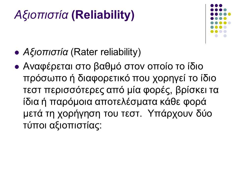 Αξιοπιστία (Reliability) Αξιοπιστία (Rater reliability) Αναφέρεται στο βαθμό στον οποίο το ίδιο πρόσωπο ή διαφορετικό που χορηγεί το ίδιο τεστ περισσότερες από μία φορές, βρίσκει τα ίδια ή παρόμοια αποτελέσματα κάθε φορά μετά τη χορήγηση του τεστ.