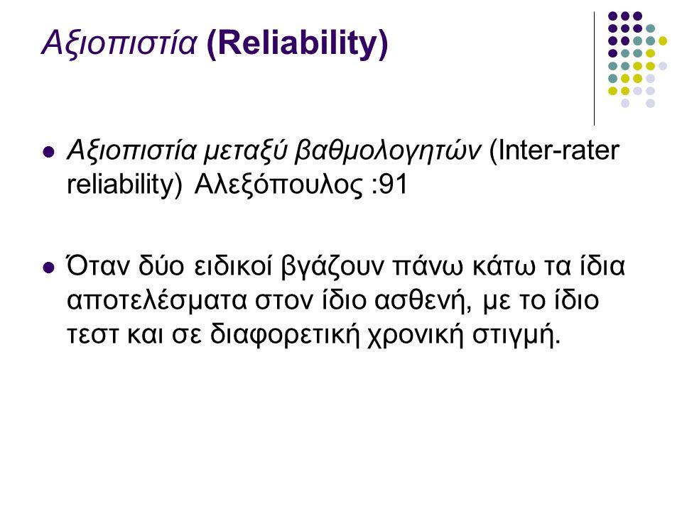Αξιοπιστία (Reliability) Αξιοπιστία μεταξύ βαθμολογητών (Inter-rater reliability) Αλεξόπουλος :91 Όταν δύο ειδικοί βγάζουν πάνω κάτω τα ίδια αποτελέσματα στον ίδιο ασθενή, με το ίδιο τεστ και σε διαφορετική χρονική στιγμή.
