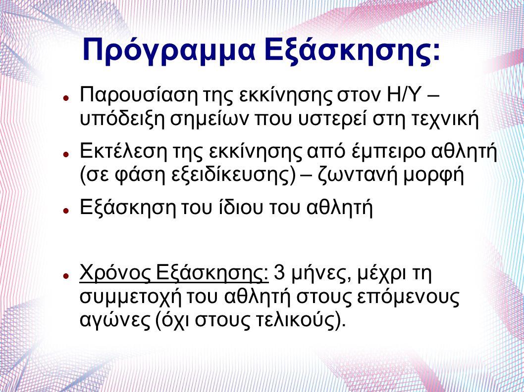 Πρόγραμμα Εξάσκησης: Παρουσίαση της εκκίνησης στον Η/Υ – υπόδειξη σημείων που υστερεί στη τεχνική Εκτέλεση της εκκίνησης από έμπειρο αθλητή (σε φάση ε