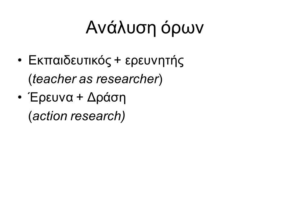 Έρευνα - δράσης Λέξεις δράσης Πράττω Παρεμβαίνω Στοχεύω Είμαι αποφασισμένος Έχω κίνητρα Έχω πάθος Λέξεις έρευνας Ερευνώ Αναθεωρώ Είμαι προσεκτικός Είμαι Πειθαρχημένος Μαρτυρία/απόδειξη Δρω συστηματικά