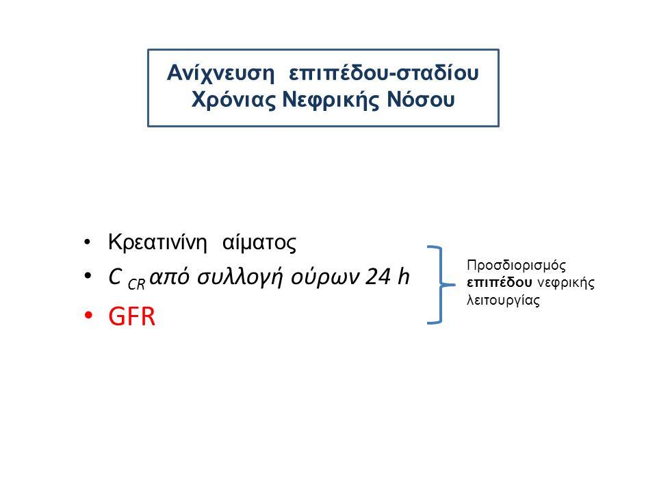 Ανίχνευση επιπέδου-σταδίου Χρόνιας Νεφρικής Νόσου Κρεατινίνη αίματος C CR από συλλογή ούρων 24 h GFR Προσδιορισμός επιπέδου νεφρικής λειτουργίας