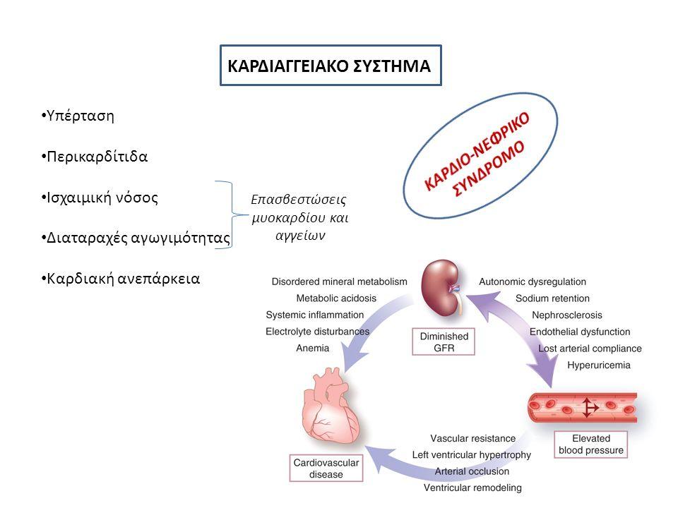 ΚΑΡΔΙΑΓΓΕΙΑΚΟ ΣΥΣΤΗΜΑ Υπέρταση Περικαρδίτιδα Ισχαιμική νόσος Διαταραχές αγωγιμότητας Καρδιακή ανεπάρκεια Επασβεστώσεις μυοκαρδίου και αγγείων