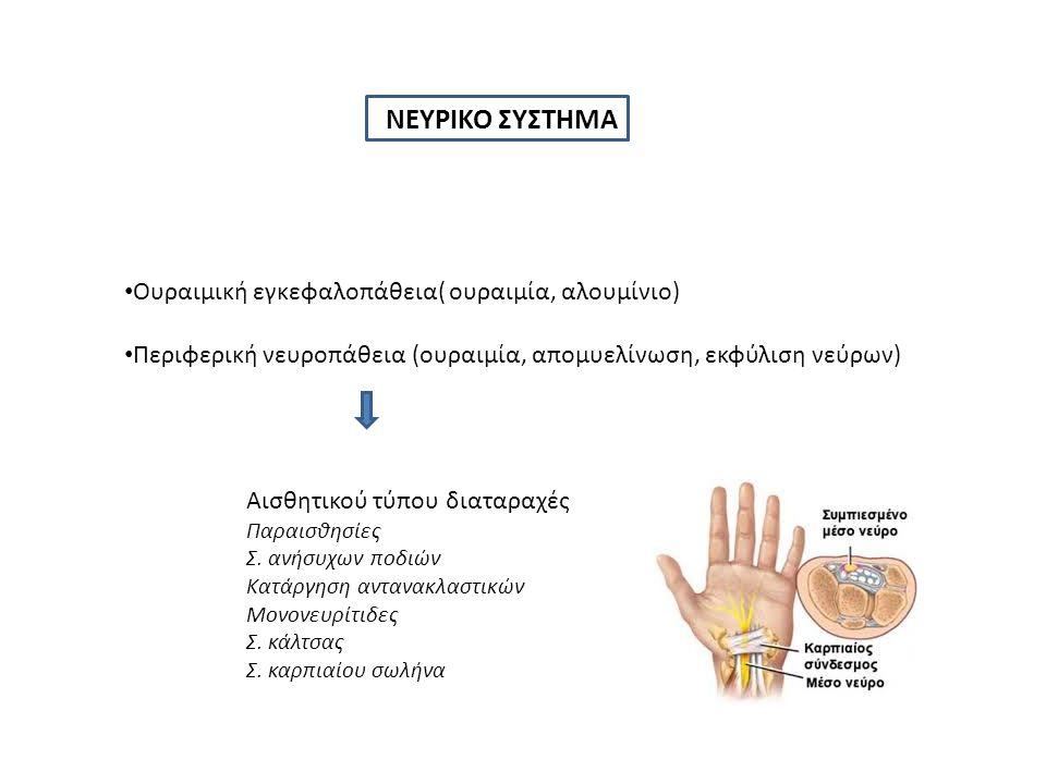 ΝΕΥΡΙΚΟ ΣΥΣΤΗΜΑ Ουραιμική εγκεφαλοπάθεια( ουραιμία, αλουμίνιο) Περιφερική νευροπάθεια (ουραιμία, απομυελίνωση, εκφύλιση νεύρων) Αισθητικού τύπου διαταραχές Παραισθησίες Σ.