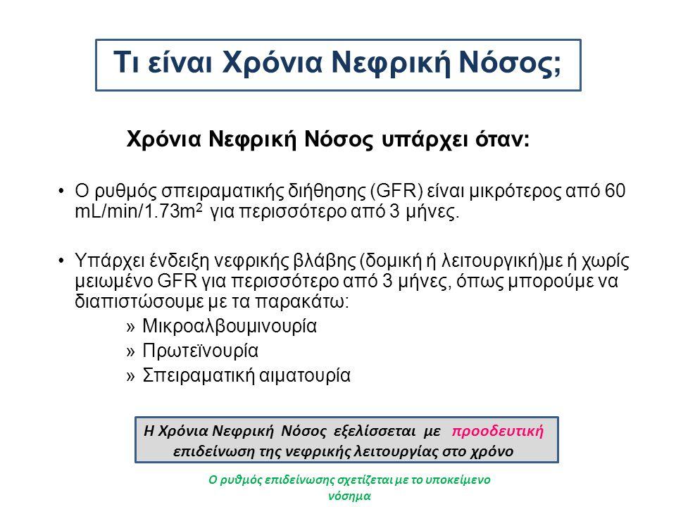 Τι είναι Χρόνια Νεφρική Νόσος; Χρόνια Νεφρική Νόσος υπάρχει όταν: Ο ρυθμός σπειραματικής διήθησης (GFR) είναι μικρότερος από 60 mL/min/1.73m 2 για περισσότερο από 3 μήνες.