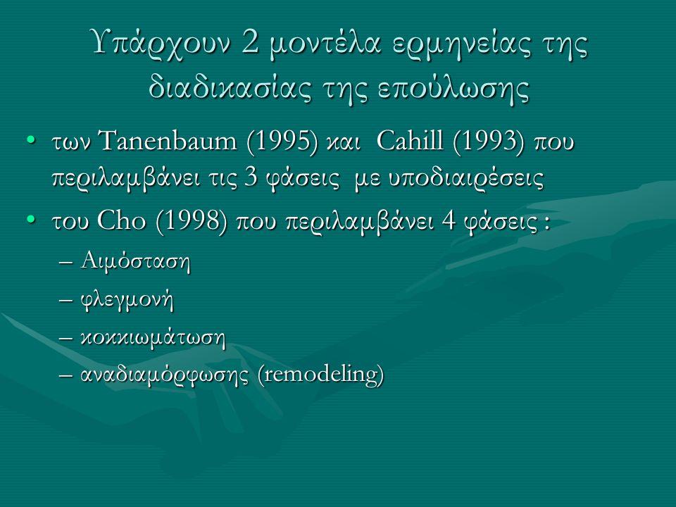 Υπάρχουν 2 μοντέλα ερμηνείας της διαδικασίας της επούλωσης των Tanenbaum (1995) και Cahill (1993) που περιλαμβάνει τις 3 φάσεις με υποδιαιρέσειςτων Tanenbaum (1995) και Cahill (1993) που περιλαμβάνει τις 3 φάσεις με υποδιαιρέσεις του Cho (1998) που περιλαμβάνει 4 φάσεις :του Cho (1998) που περιλαμβάνει 4 φάσεις : –Αιμόσταση –φλεγμονή –κοκκιωμάτωση –αναδιαμόρφωσης (remodeling)