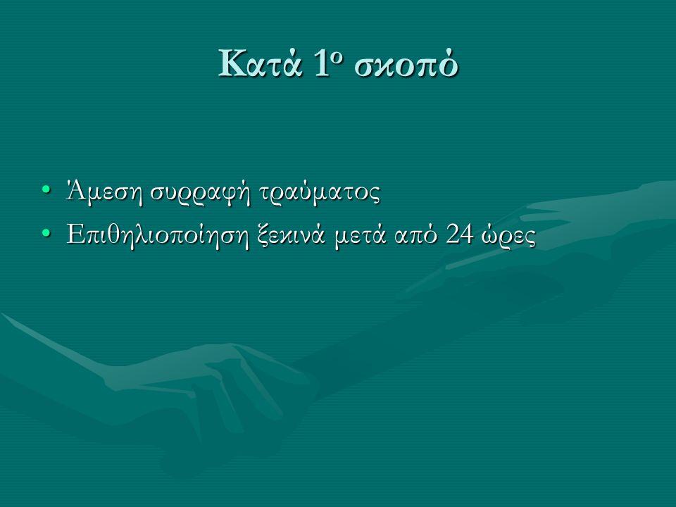Κατά 1 ο σκοπό Άμεση συρραφή τραύματοςΆμεση συρραφή τραύματος Επιθηλιοποίηση ξεκινά μετά από 24 ώρεςΕπιθηλιοποίηση ξεκινά μετά από 24 ώρες