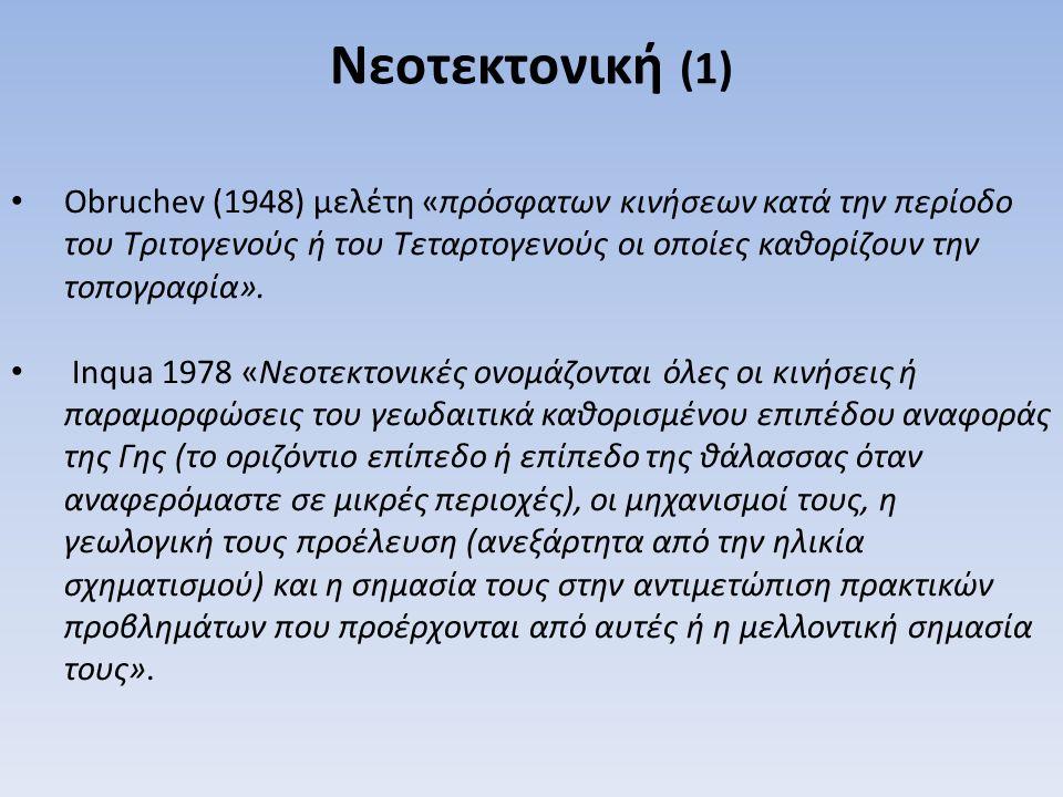 Obruchev (1948) μελέτη «πρόσφατων κινήσεων κατά την περίοδο του Τριτογενούς ή του Τεταρτογενούς οι οποίες καθορίζουν την τοπογραφία». Inqua 1978 «Νεοτ