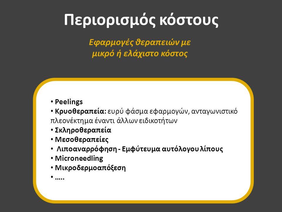 Περιορισμός κόστους Εφαρμογές θεραπειών με μικρό ή ελάχιστο κόστος Peelings Κρυοθεραπεία: ευρύ φάσμα εφαρμογών, ανταγωνιστικό πλεονέκτημα έναντι άλλων ειδικοτήτων Σκληροθεραπεία Μεσοθεραπείες Λιποαναρρόφηση - Εμφύτευμα αυτόλογου λίπους Microneedling Μικροδερμοαπόξεση …..
