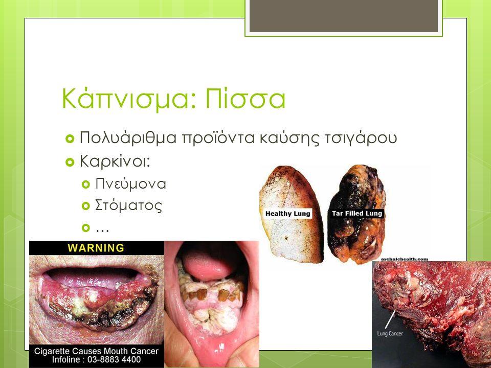 Κάπνισμα: Πίσσα  Πολυάριθμα προϊόντα καύσης τσιγάρου  Καρκίνοι:  Πνεύμονα  Στόματος ……