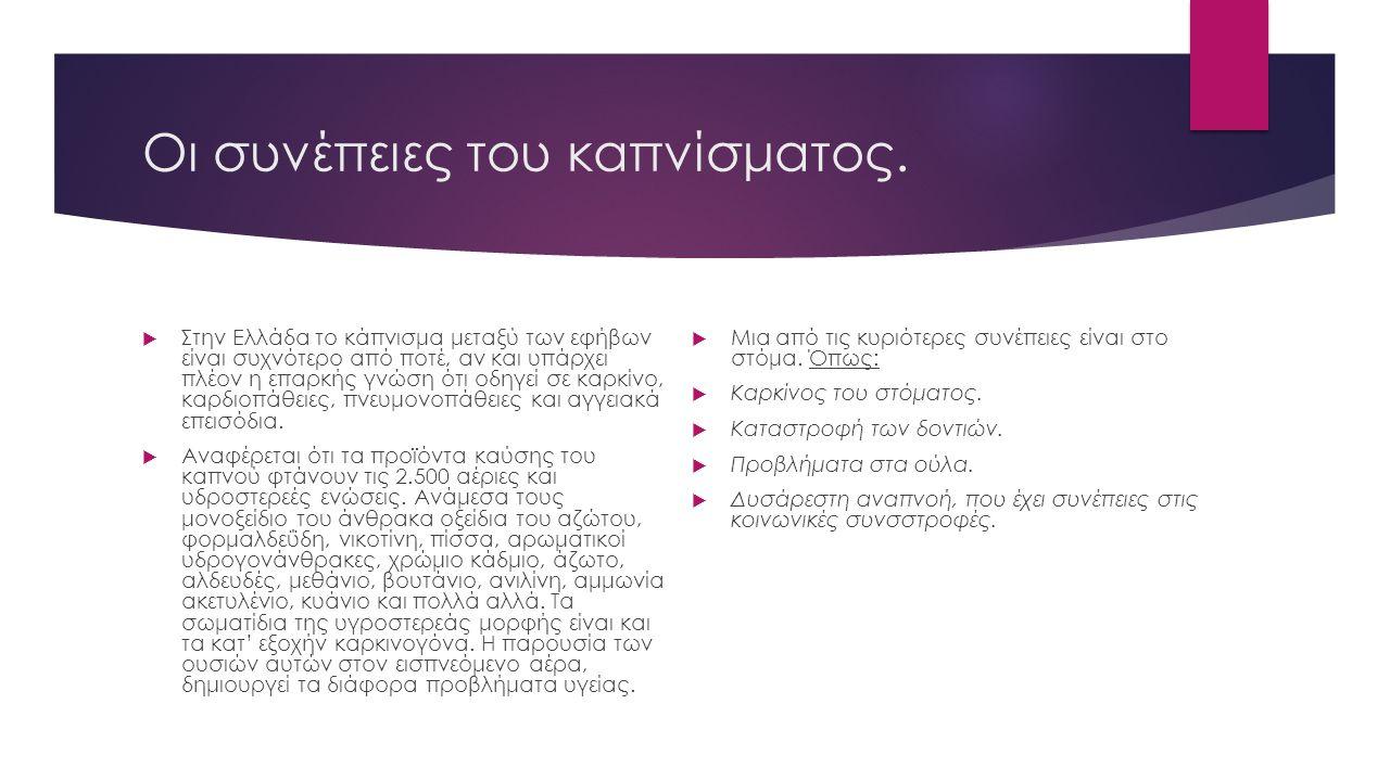 Οι συνέπειες του καπνίσματος.  Στην Ελλάδα το κάπνισμα μεταξύ των εφήβων είναι συχνότερο από ποτέ, αν και υπάρχει πλέον η επαρκής γνώση ότι οδηγεί σε
