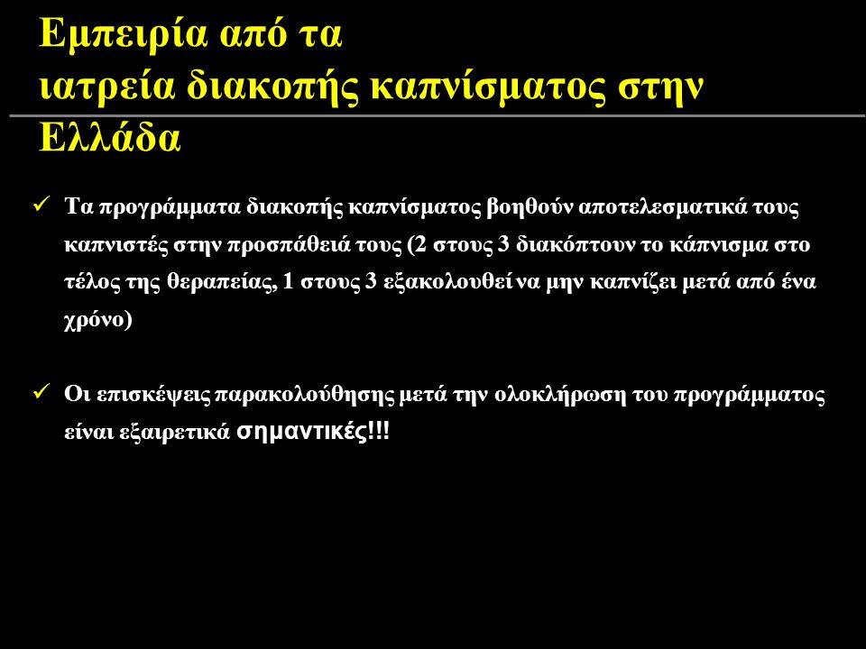 Εμπειρία από τα ιατρεία διακοπής καπνίσματος στην Ελλάδα Τα προγράμματα διακοπής καπνίσματος βοηθούν αποτελεσματικά τους καπνιστές στην προσπάθειά τους (2 στους 3 διακόπτουν το κάπνισμα στο τέλος της θεραπείας, 1 στους 3 εξακολουθεί να μην καπνίζει μετά από ένα χρόνο) Οι επισκέψεις παρακολούθησης μετά την ολοκλήρωση του προγράμματος είναι εξαιρετικά σημαντικές!!!
