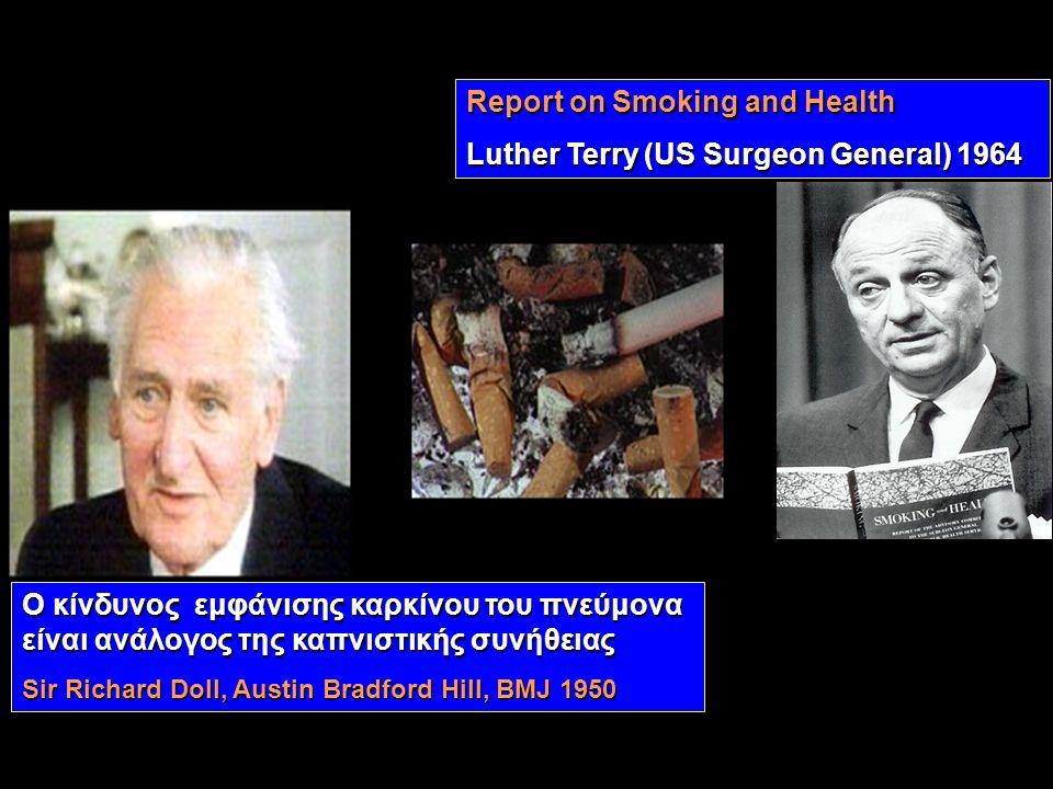 Ο κίνδυνος εμφάνισης καρκίνου του πνεύμονα είναι ανάλογος της καπνιστικής συνήθειας Sir Richard Doll, Austin Bradford Hill, BMJ 1950 Report on Smoking and Health Luther Terry (US Surgeon General) 1964