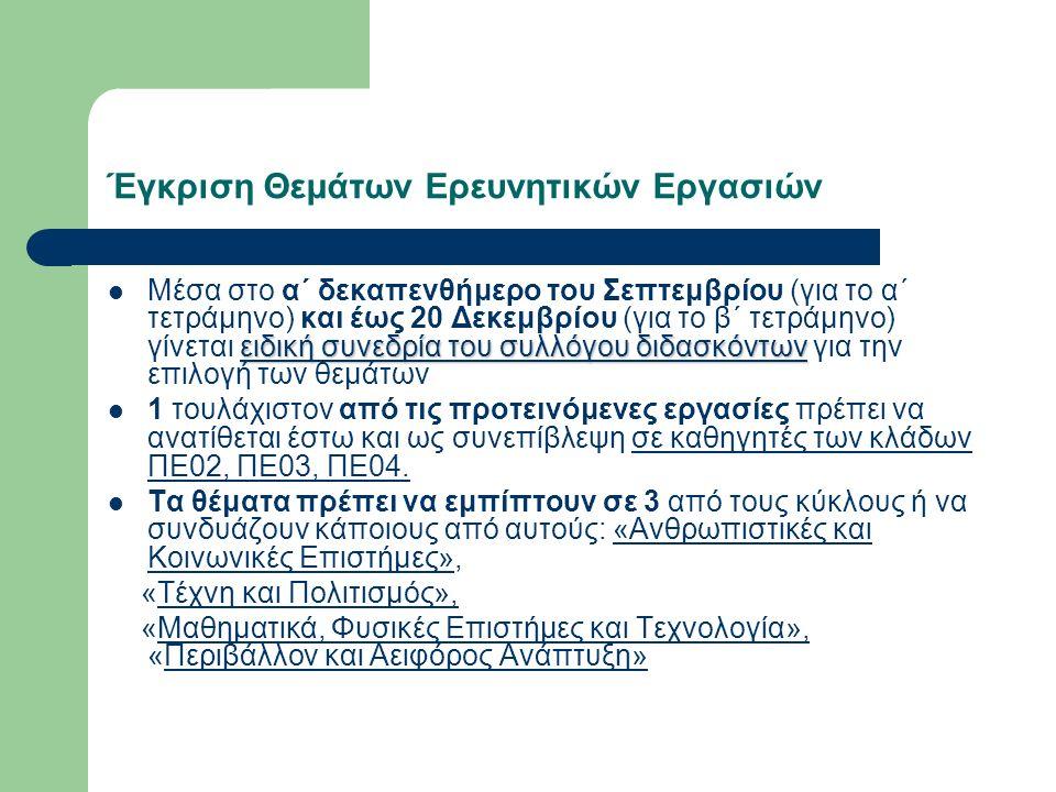Έγκριση Θεμάτων Ερευνητικών Εργασιών ειδική συνεδρία του συλλόγου διδασκόντων Μέσα στο α΄ δεκαπενθήμερο του Σεπτεμβρίου (για το α΄ τετράμηνο) και έως 20 Δεκεμβρίου (για το β΄ τετράμηνο) γίνεται ειδική συνεδρία του συλλόγου διδασκόντων για την επιλογή των θεμάτων 1 τουλάχιστον από τις προτεινόμενες εργασίες πρέπει να ανατίθεται έστω και ως συνεπίβλεψη σε καθηγητές των κλάδων ΠΕ02, ΠΕ03, ΠΕ04.