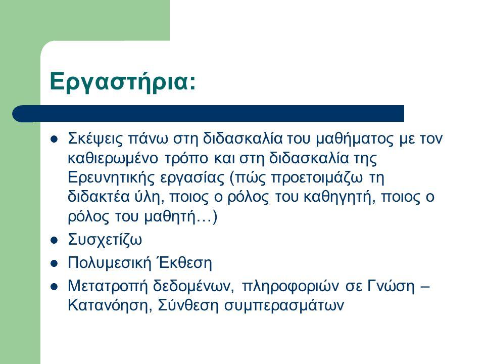 Εργαστήρια: Σκέψεις πάνω στη διδασκαλία του μαθήματος με τον καθιερωμένο τρόπο και στη διδασκαλία της Ερευνητικής εργασίας (πώς προετοιμάζω τη διδακτέα ύλη, ποιος ο ρόλος του καθηγητή, ποιος ο ρόλος του μαθητή…) Συσχετίζω Πολυμεσική Έκθεση Μετατροπή δεδομένων, πληροφοριών σε Γνώση – Κατανόηση, Σύνθεση συμπερασμάτων