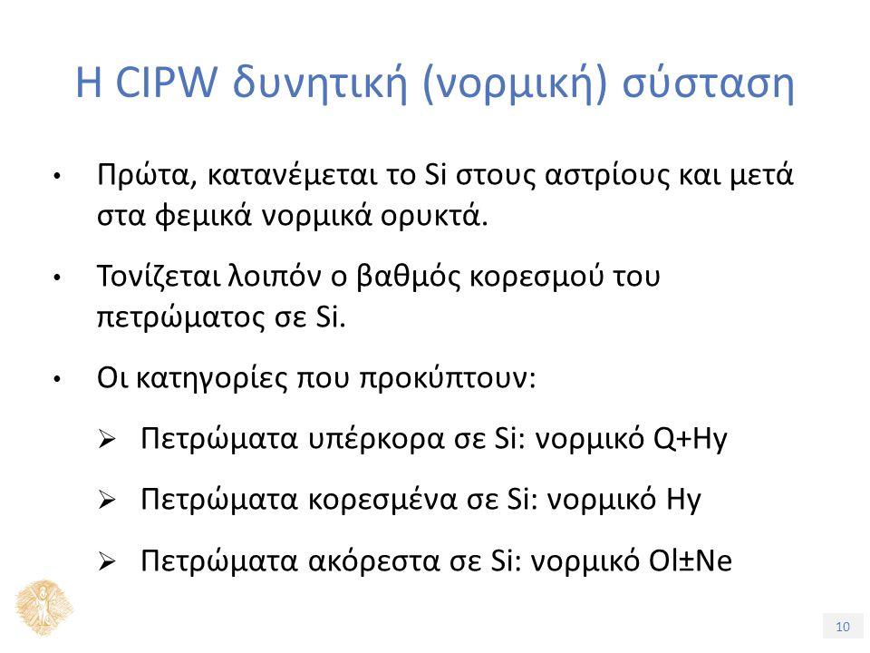 10 Η CIPW δυνητική (νορμική) σύσταση Πρώτα, κατανέμεται το Si στους αστρίους και μετά στα φεμικά νορμικά ορυκτά.