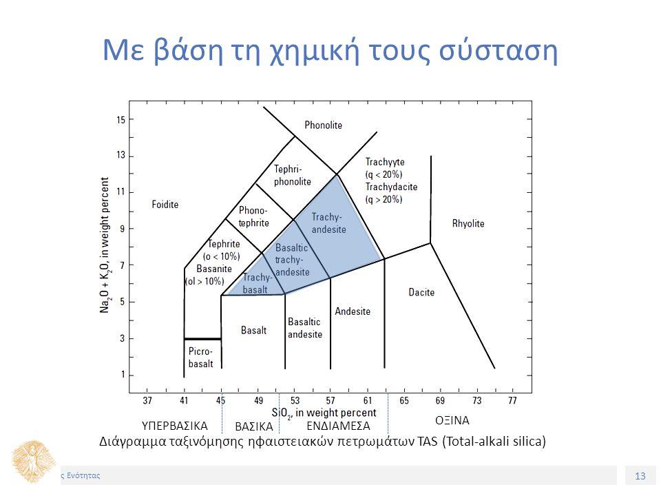 13 Τίτος Ενότητας Με βάση τη χημική τους σύσταση ΥΠΕΡΒΑΣΙΚΑ ΒΑΣΙΚΑ ΕΝΔΙΑΜΕΣΑ ΟΞΙΝΑ Διάγραμμα ταξινόμησης ηφαιστειακών πετρωμάτων TAS (Total-alkali silica)