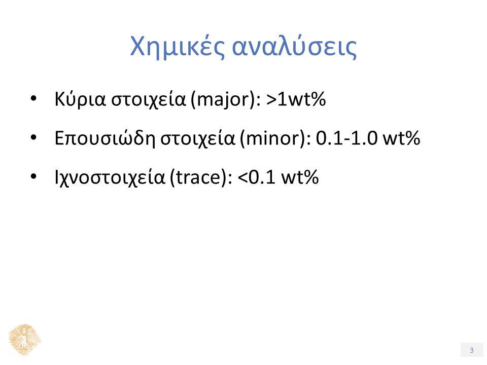 3 Χημικές αναλύσεις Κύρια στοιχεία (major): >1wt% Επουσιώδη στοιχεία (minor): 0.1-1.0 wt% Ιχνοστοιχεία (trace): <0.1 wt%