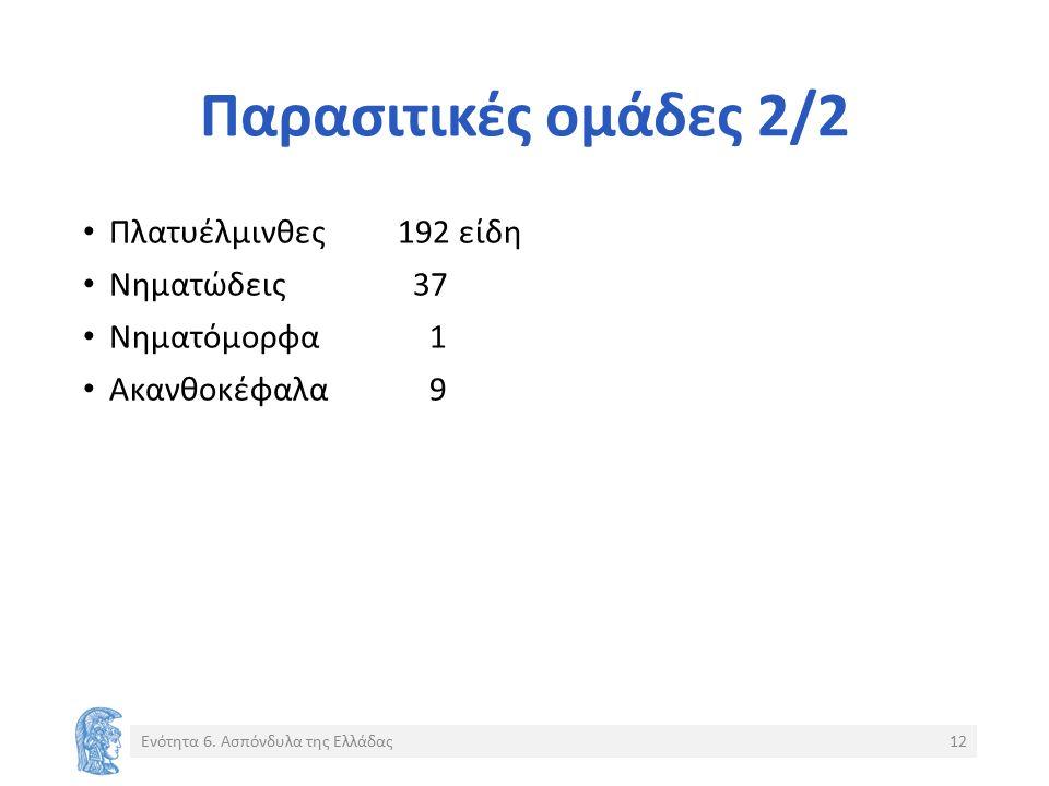 Παρασιτικές ομάδες 2/2 Πλατυέλμινθες192 είδη Νηματώδεις 37 Νηματόμορφα 1 Ακανθοκέφαλα 9 Ενότητα 6.