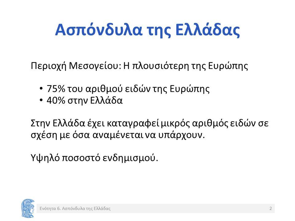 Ασπόνδυλα της Ελλάδας Περιοχή Μεσογείου: Η πλουσιότερη της Ευρώπης 75% του αριθμού ειδών της Ευρώπης 40% στην Ελλάδα Στην Ελλάδα έχει καταγραφεί μικρός αριθμός ειδών σε σχέση με όσα αναμένεται να υπάρχουν.