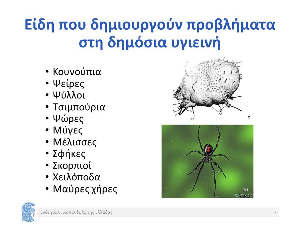 Είδη που δημιουργούν προβλήματα στη δημόσια υγιεινή Κουνούπια Ψείρες Ψύλλοι Τσιμπούρια Ψώρες Μύγες Μέλισσες Σφήκες Σκορπιοί Χειλόποδα Μαύρες χήρες Ενότητα 6.