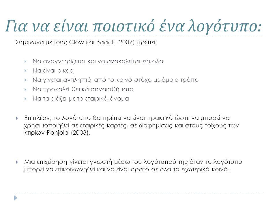 Για να είναι ποιοτικό ένα λογότυπο : Σύμφωνα με τους Clow και Baack (2007) πρέπει:  Να αναγνωρίζεται και να ανακαλείται εύκολα  Να είναι οικείο  Να