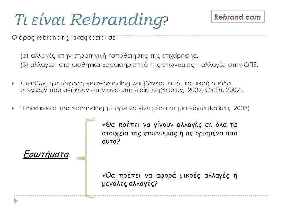 Τι είναι Rebranding ? Ο όρος rebranding αναφέρεται σε: (α) αλλαγές στην στρατηγική τοποθέτησης της επιχείρησης. (β) αλλαγές στα αισθητικά χαρακτηριστι