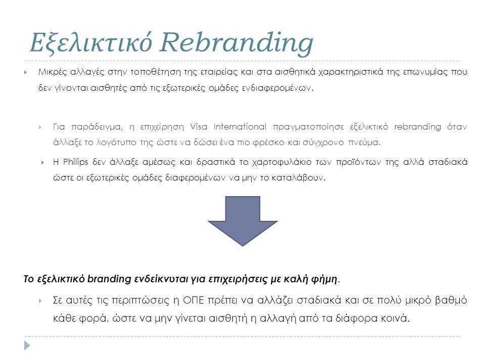 Εξελικτικό Rebranding  Μικρές αλλαγές στην τοποθέτηση της εταιρείας και στα αισθητικά χαρακτηριστικά της επωνυμίας που δεν γίνονται αισθητές από τις εξωτερικές ομάδες ενδιαφερομένων.
