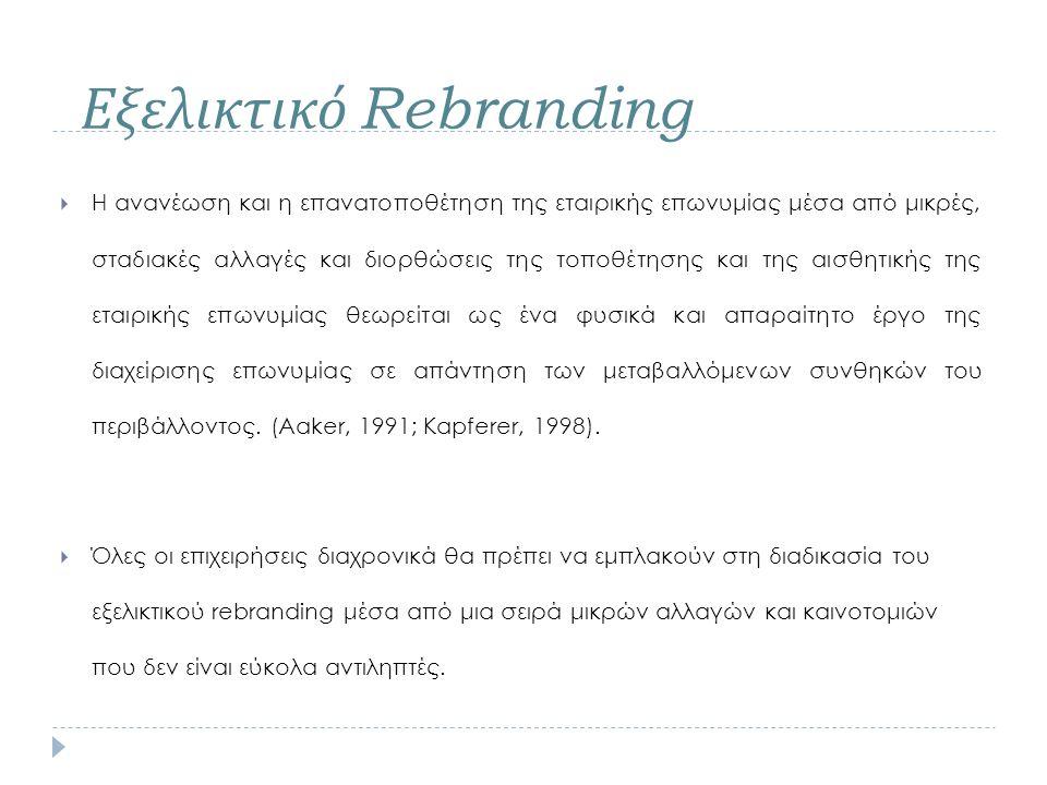  Η ανανέωση και η επανατοποθέτηση της εταιρικής επωνυμίας μέσα από μικρές, σταδιακές αλλαγές και διορθώσεις της τοποθέτησης και της αισθητικής της ετ