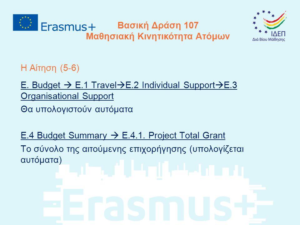 Η Αίτηση (5-6) E. Budget  E.1 Travel  E.2 Individual Support  E.3 Organisational Support Θα υπολογιστούν αυτόματα E.4 Budget Summary  E.4.1. Proje