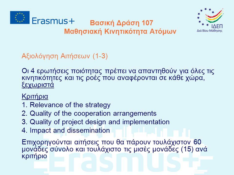 Βασική Δράση 107 Μαθησιακή Κινητικότητα Ατόμων Αξιολόγηση Αιτήσεων (1-3) Οι 4 ερωτήσεις ποιότητας πρέπει να απαντηθούν για όλες τις κινητικότητες και
