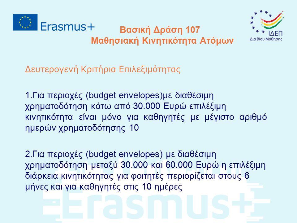 Δευτερογενή Κριτήρια Επιλεξιμότητας 1.Για περιοχές (budget envelopes)με διαθέσιμη χρηματοδότηση κάτω από 30.000 Ευρώ επιλέξιμη κινητικότητα είναι μόνο