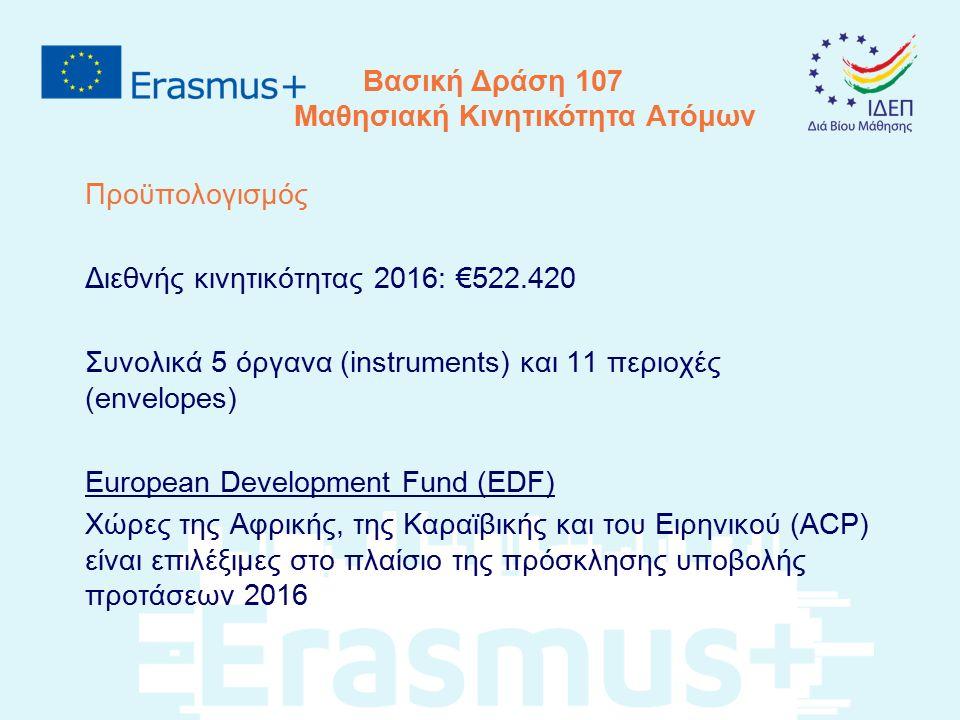 Βασική Δράση 107 Μαθησιακή Κινητικότητα Ατόμων Προϋπολογισμός Διεθνής κινητικότητας 2016: €522.420 Συνολικά 5 όργανα (instruments) και 11 περιοχές (en