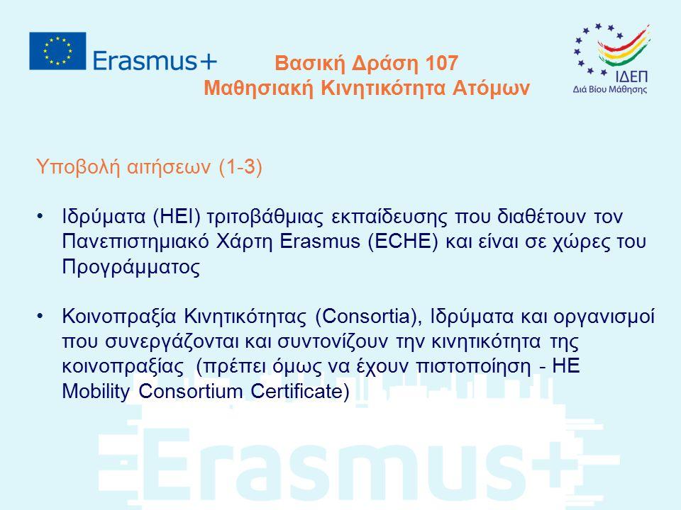 Υποβολή αιτήσεων (1-3) Ιδρύματα (HEI) τριτοβάθμιας εκπαίδευσης που διαθέτουν τον Πανεπιστημιακό Χάρτη Erasmus (ECHE) και είναι σε χώρες του Προγράμματ