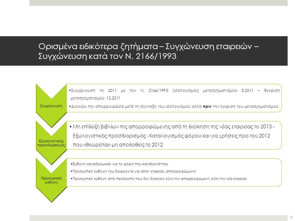 Ορισμένα ειδικότερα ζητήματα – Συγχώνευση εταιρειών – Συγχώνευση κατά τον Ν. 2166/1993 Συγχώνευση Συγχώνευση το 2011 με τον Ν. 2166/1993 (Ισολογισμός